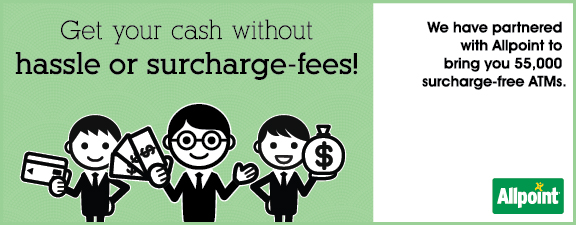 Get your cash without hassle or surcharge-fees!